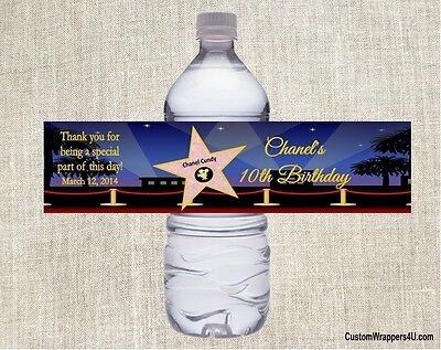 Hollywood Star Birthday Party Favors Water Bottle Labels Personalized Custom - Hollywood Favors