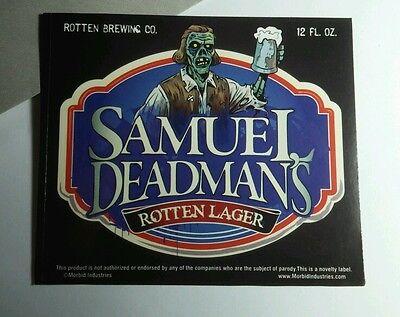 Halloween Pop Bottle Crafts (SAMUEL DEADMAN'S ROTTEN LAGER 3.5x4 HALLOWEEN WINE POP BOTTLE LABEL )