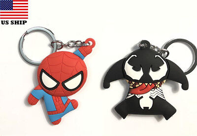 US! 3D Avengers Fun Venom Black Superhero Spider-man Keychain Key Rings Gifts - Fun Keychains