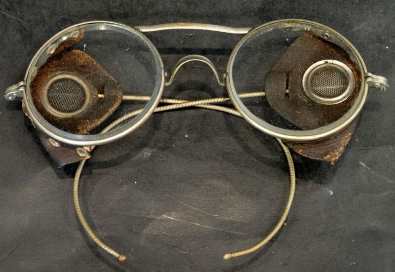 ANTIQUE Vintage AMERICAN OPTICAL Safety Glasses MOTORCYCLE STEAMPUNK Eyeglasses