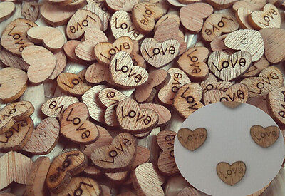 100pcs Wooden Love Heart Shape Small Wood Piece Wedding Table Scatter Decora US