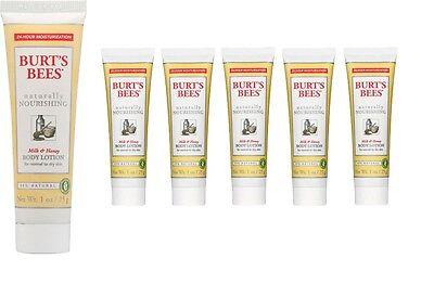 Burt's Bees Naturally Nourishing Milk and Honey Body Lotion Lot of (6) 1 oz each