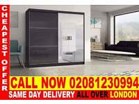 ****SUPPER QUALITY*** Two Door Sliding High Gloss WhiteBlack Wardrobe