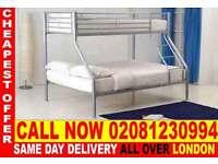 ****Amazing Offer**** single top double bottom trio sleeper metal bunk base (Base) Bedding