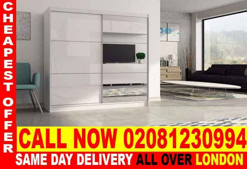 CASH ON DELIVERYTwo Door Sliding High Gloss WhiteBlack Wardrobein South Kensington, LondonGumtree - Dimensions Height 215 cm Width 180 cm Depth 61 cm Specifications 6 Shelves 2 Hanging Rails High Gloss on one Door Full mirror on the other Door Silver Handles Flat Pack in Boxes Assembly Required Colours Black White We are just a call away from you...
