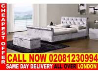 ****Quickest delivery*** DIFFERENT COLORS CRUSHED VELVET SLEIGH BEDDING SINGLE DOUBLE KING SIZE