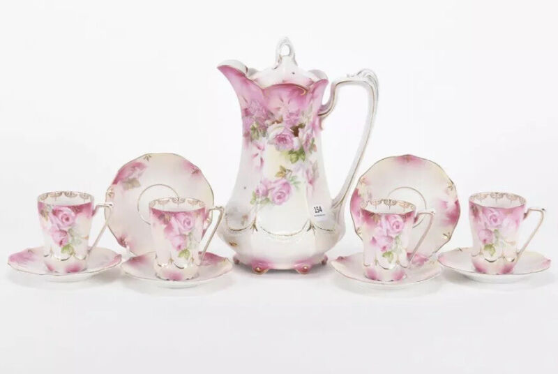 Antique RS Prussia Chocolate Set Pink Floral