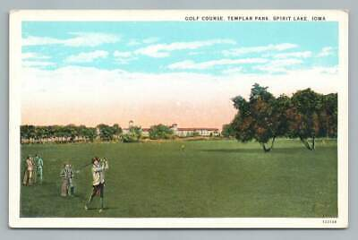 Female Golfer SPIRIT LAKE Iowa~Templar Park Golfing Woman Antique Curteich 1920s