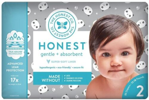 (4-Pack) NEW The Honest Company Gentle Diapers, Size 2, 128 ct, Panda MSRP $44