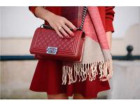 Chanel boy bag style red medium size