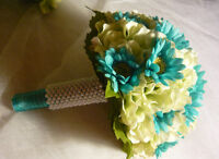 Teal & Light Lime Green Posy Style Wedding Bouquet Flowers.