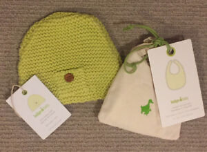 Brand New Baby Bib and Knitted Baby Hat from Indigo - Lime Green