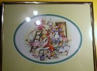 "Adorable Framed & matted ""Bunnikins"" Scene by Royal Doulton"