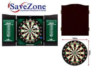 "NEW- 18"" Dartboard and Cabinet Set"