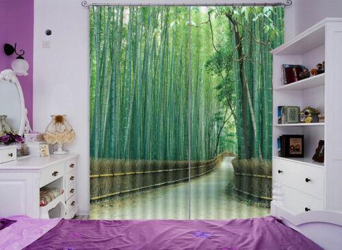 Strada Di Bambù Verde 3D Tenda Bloccare Foto Stampa Tendaggio Drappo Tessuto Fin