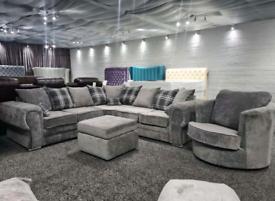 New : 5 Seater Verona Corner Sofa + Cuddle Chair + Footstool