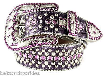 BB Simon Purple Leather Belt 36 XXL New