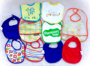 Large Lot Of 10 Baby Bibs - 2 Waterproof!