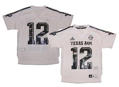 Texas Youth Replica Football Jersey - NWT Adidas Texas A&M Aggies #12 NCAA Youth Replica Football Jersey - White
