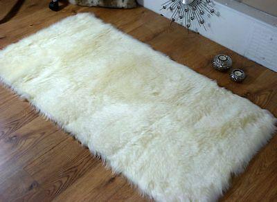 Cream Ivory Faux Fur Sheepskin Style Oblong Rug 70 x 140cm Washable