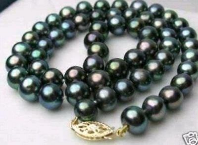 Natural 6-7mm black Akoya Cultured Pearl Necklace 18