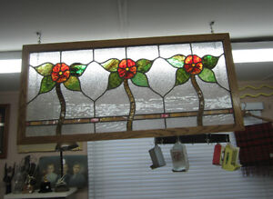 "Vintage framed stained glass window with flowers 18"" X 38"""