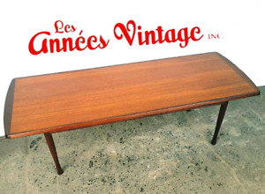 Table basse teck noyer vintage mid-century