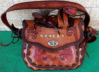 "Real Leather Horse Saddle Design Purse ""STACEY"" Rare Vintage Antique Western"