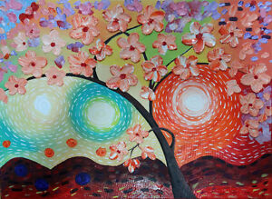 CherryBlossom3D Flowers Painting on Textured Abstract Background London Ontario image 1