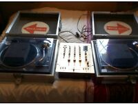 Technics 1210 mk2 turntables with Vestax mixer and flight cases