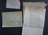 1918 Antique & Rare World War I Soldier's Letter - W/ Map -LOOK