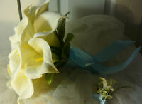 Pretty Sea Blue & White Calla Lily Wedding Bouquet Flower Set.