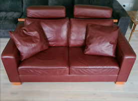 Red Italian leather couches