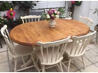 Shabby chic solid pine extendable table and 6 oak chairs refurbished
