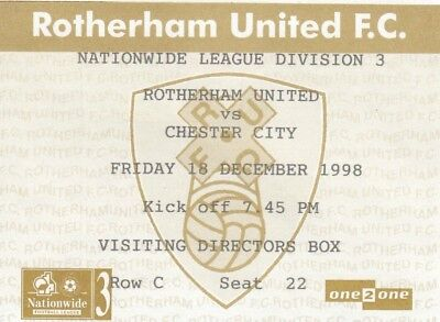 Ticket - Rotherham United v Chester City 18.12.98 Directors Box
