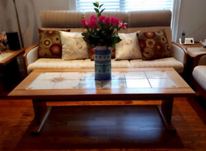 Teak Wood Coffee Table and Side Table with Decorated Tiles