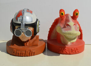 Two Matching STAR WARS Figural Coin Banks: Anakin & Jar Jar