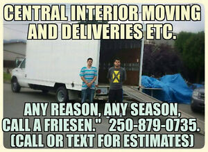 Central Interior Moving. 2men,fuel and moving van 65$hr.