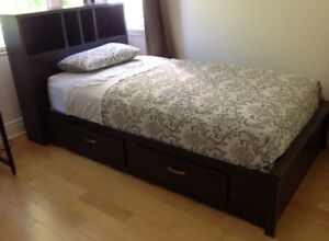 Single bed with mattress, bed over, sheets