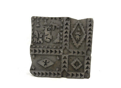 Antique Bunta Stamped Wood Printing Fabric Textile Batik Rajasthan India D9 Th