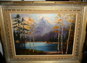 "Original Oil, Dorothy Hunter (Adams) ""Landscape with Mountains"""
