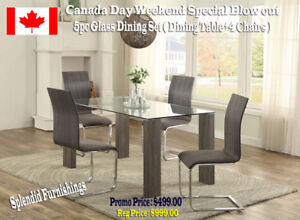 Canada Day Sale! Contemporary, 5 Pc Glass Dining Sets From $499