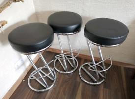 Chrome faux leather kitchen breakfast bar stool x 3