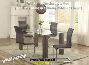 Weekend Special Contemporary, 5 Pc Glass Dining Sets From $565