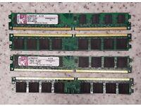 8GB (4 X 2 GB) Kingston DDR2-800 PC2 6400 240 PIN Desktop RAM