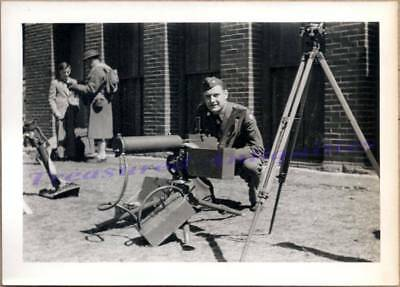 WWII US Army Soldier with Browning M1917 .30 cal Water-Cooled Machine Gun Photo