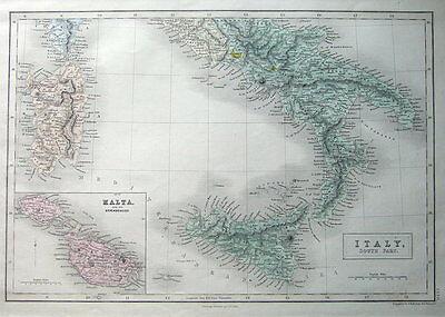 MALTA, GOZO, SICILY, SARDINIA, S. ITALY, A&C Black original antique map c1870