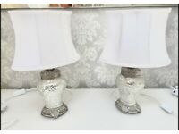 Pair of silver lamps with white shade