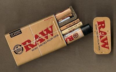 RAW Rolling Papers 1 1/4 Cigarette Tin Classic and Organic Hemp + Roller+Lighter