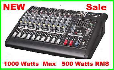10 Channel 1000W Professional Powered Mixer power mixing Amplifier Amp on Rummage